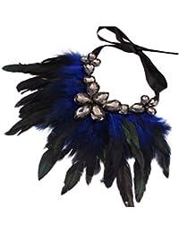 Tinksky Lágrima cristal pluma cadena mujeres Partido collar (azul)