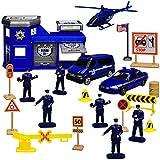 Motormax 20 TLG. Set: Metall Polizei Station mit Fahrzeugen und Zubehör