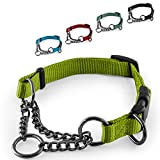 CarlCurt - Training Line: Retriever-Hundehalsband Aus Strapazierfähigem Nylon, Verstellbar, 35-45cm, Hellgrün