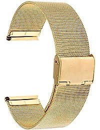 trumirr 18mm Cinturino per orologio in acciaio inox per cinturino in metallo Mesh per Huawei Orologio, Asus ZenWatch 2Donna wi502q, Withings Activite/acciaio/Pop, gold