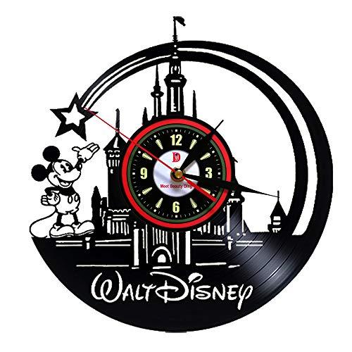 Meet Beauty Ding Niedliche Mickey Mouse Walt Disney Vinyl Record Wanduhr kreative Kinderzimmer Kunst Dekor - einzigartige handgefertigte Geschenkidee für Jungen Mädchen Halloween Weihnachten