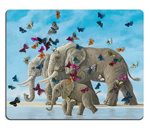 Muccum - Alfombrilla para ratón, diseño de elefantes y mariposas