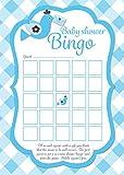 Baby Dusche Bingo Spiel Karten, blau kariert Design, 16Stück, Spaß Party Spiel