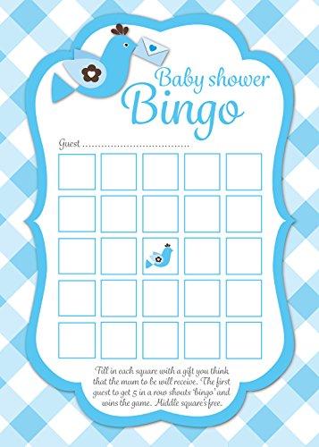 Baby shower bingo-Karten, blau kariert design, 16 Stück, witziges Partyspiel