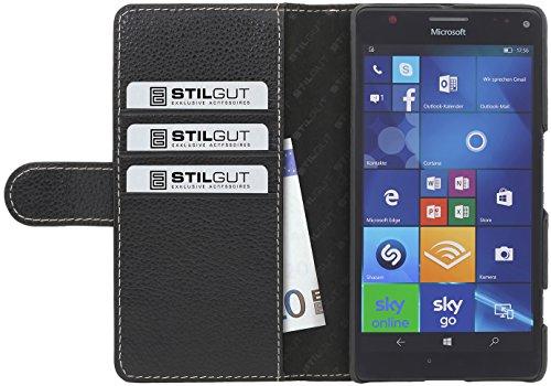 StilGut Talis, Hülle aus Leder mit Kreditkartenfach für Microsoft Lumia 950 XL, Schwarz
