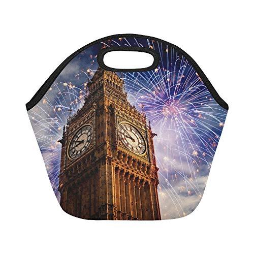 nchpaket Explosive Feuerwerk um Big Ben New Large Size wiederverwendbare thermische dicke Mittagessen Tote Bags für Lunch-Boxen für im Freien, Arbeit, Büro, Schule ()