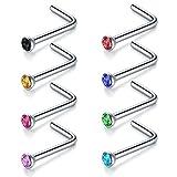 Briana Williams 8 UNIDS 16G 18G 20G 22G Acero Quirúrgico Color de la Mezcla Diamante Nose Stud Anillos en Forma de L Piercing Joyas