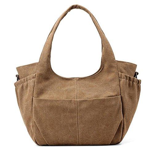 Segeltuch-Beutel-moderne Falte-doppelte Taschen-Handtaschen-Schulter-Kurier-Beutel Brown