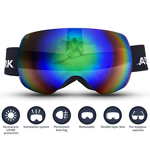 Ski Goggles - Atshark Snowboard Goggles 100% UV Protection Goggles Durable Anti-Fog with PC Dual Lens Wind-vented Anti-impact Wide Angle For Ladies and Gents, VLT 12% for Winter Sports