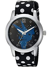 Disney Women's 'Tinker Bell' Quartz Metal and Nylon Casual Watch, Color:Black (Model: WDS000348)