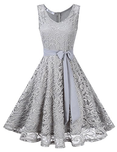 KOJOOIN Damen Vintage Kleid Brautjungfernkleid Knielang Spitzenkleid Cocktailkleid Grau M