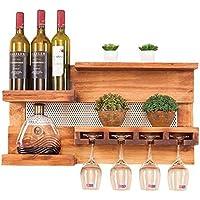 Botelleros LHA Estante de Vino de Madera Restaurante montado en la Pared Barra de la Sala