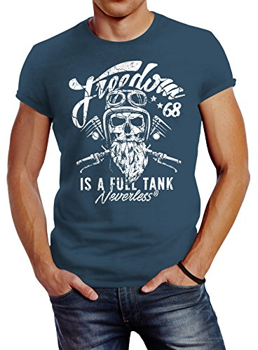 Neverless Herren T-Shirt Biker Motorrad Motiv Freedom is a Full Tank Skull Totenkopf Slim Fit Denim Blue XL (Motorrad T-shirts Für Männer)