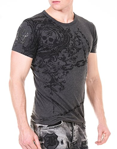 Baxmen Cultwear Herren Oversize T-Shirt mit Strass Logo Am Arm Rundhals Shirt Tee Slim Fit Round Neck Anthrazit Large (Strass-tee)