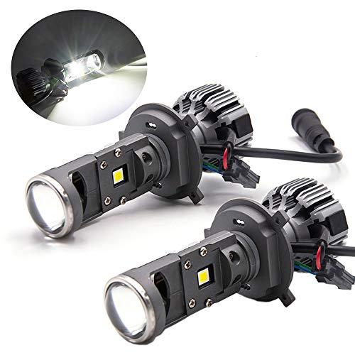 ALOPEE - Extrem Helle 9003 Scheinwerferlampen Hoch Niedrig Einstellbarer Strahl 8000LM, 45 W High Power 5500K Weiß G7-Serie mit MINI-Projektorobjektiv