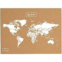 Miss Wood 8436563400032 Map L - Mapa del mundo de corcho, Natural /Blanco
