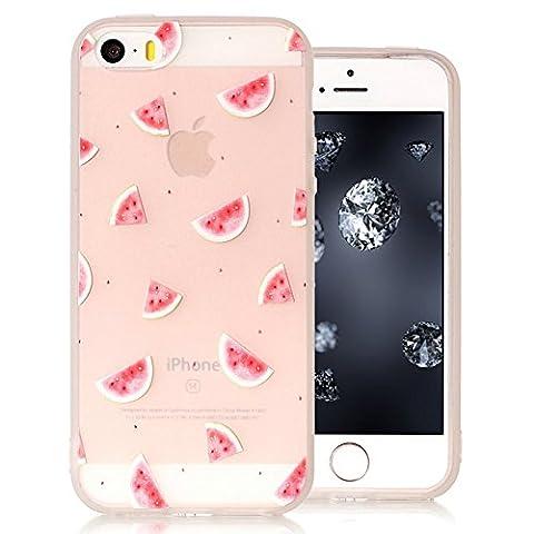 iPhone 5/5S/SE Bumper, Durchsichtig Silikonhülle für iPhone 5S, Aeeque 3D Relief Slim Weich Muster Gel Klar Rahmen Flexibel Handy Schützt Skin Shell Hülle Tasche Backcase für iPhone 5 5S iPhone SE - Rosa Wassermelone