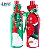 Petansy Weihnachten Weinflasche Abdeckung Weihnachten Rotwein Flasche Sets Abdeckung Weihnachten Tischdekoration 2 Pack