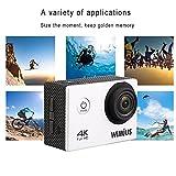 WiMiUS Actioncam 4K Action Cam Wifi Action Kamera HD 16MP Wasserdichte Helmkamera mit 2Akkus(Silber...