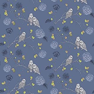 Arthouse 665002 Night Owl Wallpaper, Midnight Blue, 53 cm x 10.05 m