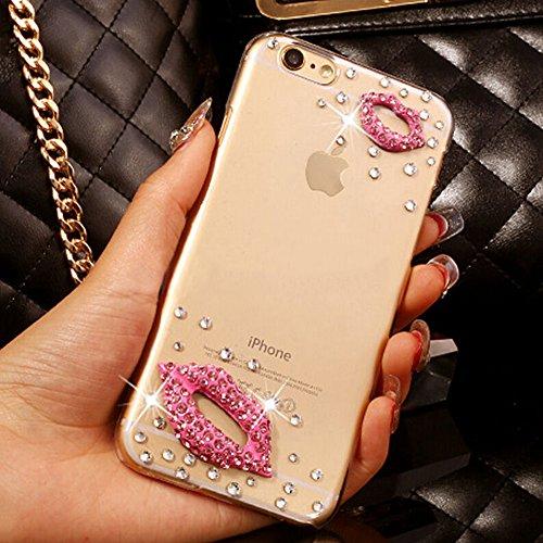 iphone6 6s 4.7 pollici Lite Custodia di silicone TPU Custodia Cover Case for iPhone 6 6S trasparente Nnopbeclik® Ultra Slim, grazioso bellezza custodia protettiva modello lucido glitter diamante stras Lippen