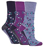 3 Pairs of Ladies Sock Shop Gentle Grip Patterned Socks, Various Designs/Colours, Ladies UK Size 4-8 (Purple Floral)