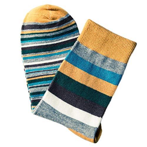 XINXI Home Winter-Stricken verdicken warme Baumwollsocken, die Bunte Herbstmode-Farbe der Männer gestreift, Also Socken im Rohr beiläufige Baumwollsocken (Color : Yellow, Size : One Size) -