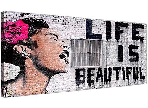 """Wallfillers """"Life is Beautiful""""-Leinwanddruck, Banksy-Graffiti, Street Art, Strassenkunst, Schwarz / Weiß / Rosa"""