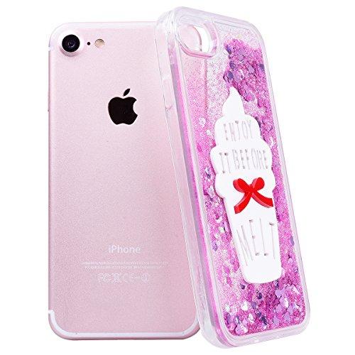GrandEver iPhone 7 Hardcase Hülle (TPU Weiche Rahmen & PC Hart Zurück) Glitter Glitzer Hartschale Eis Lila Liquid Fließen Flüssig Schwimmend Grad Schutz Transparent Rückschale Dynamisch Schutzhülle Bm Eis Rot