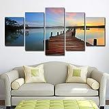 DOORWD Leinwanddruck Wandbilder Home Dekorativ 5-teilig Großplakat Seebrücke 30x40cmx2 30x60cmx2 30x80cmx1 Kein Rahmen