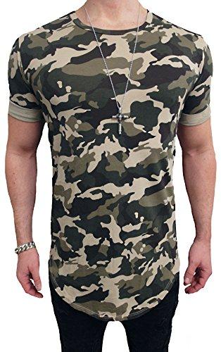 Deep Shirt Basic Oversize Style lang Longshirt Long Hoody Sommer Herren Sweatshirt NEU Sweater Sweat Jacke Pullover langes Longsleeve m Kapuzenpullover Langarm Sweatjacke Pulli (L, Camouflage)