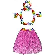 Costume 5 pezzi Set Hawaiano Gonna Fascia Bracciali Collana Ghirlanda per Festa Partito Spiaggia Carnevale - Rosa