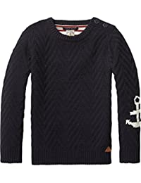 Scotch Shrunk Jungen Pullover Crew Neck Pull with Mixed Knit Techniques