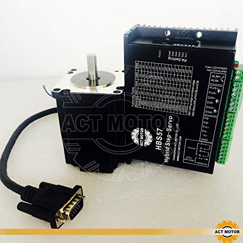 ACT MOTOR GmbH 1PC Nema23 Step-Servo Motor 23SSM6440-EC1000 4A 1.1Nm Closed-Loop+1PC HBS57 Closed Loop Stepper Driver CNC (Motor-servo-cnc)
