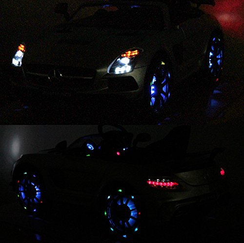 RC Auto kaufen Kinderauto Bild 6: Mercedes-Benz SLS AMG viele LED Effekte Soft Start Kinderauto Kinderfahrzeug Kinder Elektroauto (Grün)*