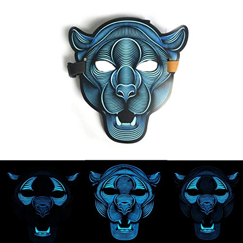 Disco Kostüm Heat - ZuoLan LED Mask Sound Reactive Activated Maske Steet Dance Party Club Cosplay Halloween Masks Masquerade (Style 4)
