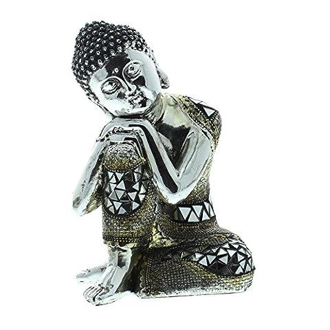 Silver Finish Thai Sitting Buddha 17cm