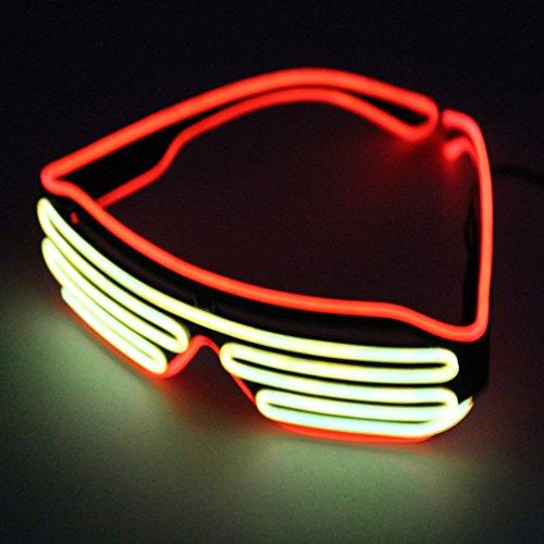 Pretty Smart Glasses Rot & Gelb heißen Draht LED Neon Licht bis Shutter geformte Gläser für Kostüm Party