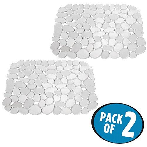 mDesign tapis évier en plastique (lot de 2) – utilisable comme tapis d'égouttoir – tapis ajustable pour protéger le fond d'évier des rayures – avec motif en galets – transparent