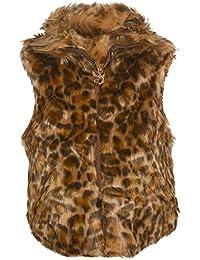 Urban Republic Little Girls Brown Leopard Pattern Faux Fur Trendy Vest 4-6X