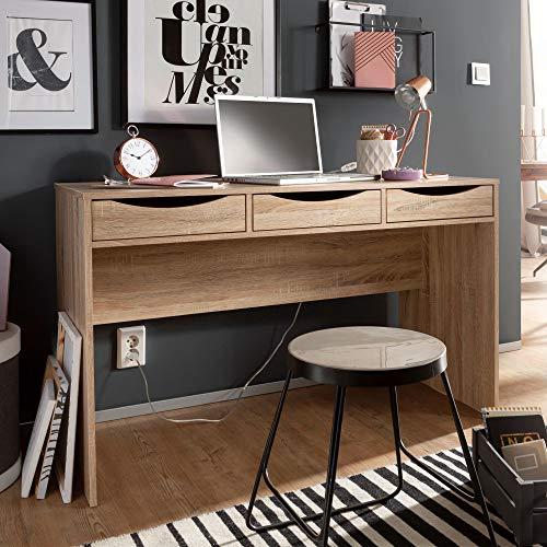 3 Schublade Eiche Schreibtisch (FineBuy Schreibtisch 120 cm | Design Büro-Tisch in Sonoma Eiche | Moderner Computer-Tisch mit 3 Schubladen und Stauraum | Platzsparender Jugend-Schreibtisch auch für Laptop geeignet)