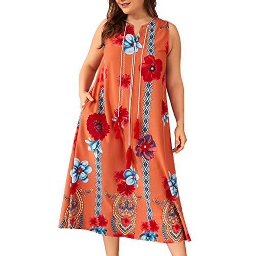 Lazzboy Plus Size Womens Floral Print ärmelloses Kleid V-Ausschnitt Sundress Damen Maxikleider Kleider Sommer Türkischer Stil Boho Strandponcho Kimono Kaftan Tunika Langes(Orange,3XL)
