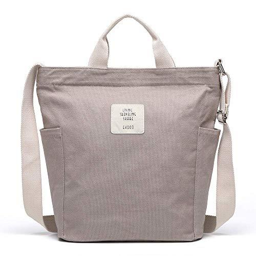 Tlend Umhängetasche Damen Tasche Canvas Groß Handtasche Schultertasche Damen Henkeltasche Messengertasche für Mädchen Arbeit Schule Einkauf-Grau