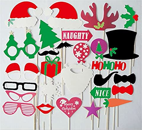 DIY Foto-Stand-Halloween-Schablonen-Kartenbartlippen-Kappengeweihe-Geschenkstock Weihnachtsfest-Stützen-Bart auf einem Stock 28PCS (Countdown Zu Weihnachten-aktivität Ideen)