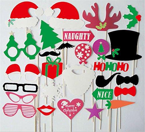 DIY Foto-Stand-Halloween-Schablonen-Kartenbartlippen-Kappengeweihe-Geschenkstock Weihnachtsfest-Stützen-Bart auf einem Stock 28PCS (28)
