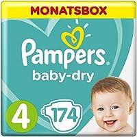 Pampers Baby-Dry 174Windeln, Größe4, Luftkanäle Für Atmungsaktive Trockenheit Die Ganze Nacht, 9–14kg Monatsbox