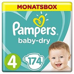 Pampers Baby Dry Windeln, für atmungsaktive Trockenheit, Gr. 4 (9-14 kg), Monatsbox, 1er Pack (1 x 174 Stück)
