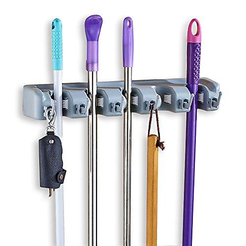 Joyoldelf Gerätehalter Wandhalterung Ordnungsleiste mit 6 Haken und 5 Schnellspannern Wandhalterung für Mopp, Besen und Gartenwerkzeug