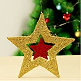 Eazyhurry Merry Christmas Decoration Bling Hanging Festival Decor for Home Wall Window Multi-color Christmas Tree Ornaments, Golden Star 23.6