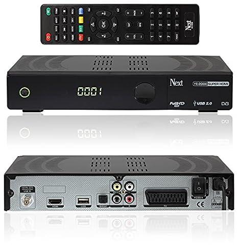 NEXT YE-2000 SUPER HDMI USB digitaler Satelliten-Receiver inkl. HDMI Kabel (HDTV, DVB-S2, HDMI, SCART, USB 2.0, S/PDIF, Full HD 1080p) [vorprogrammiert ASTRA, HOTBIRD, TÜRKSAT] - schwarz